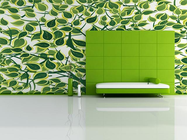 minimal green living room